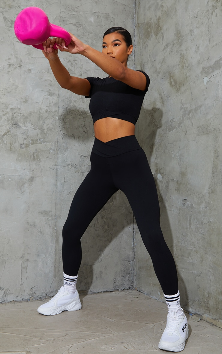 Black Sculpt Luxe Ruched Bum Gym Leggings 1
