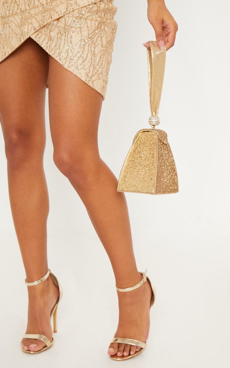 Gold Diamante Pyramid Mini Bag 1