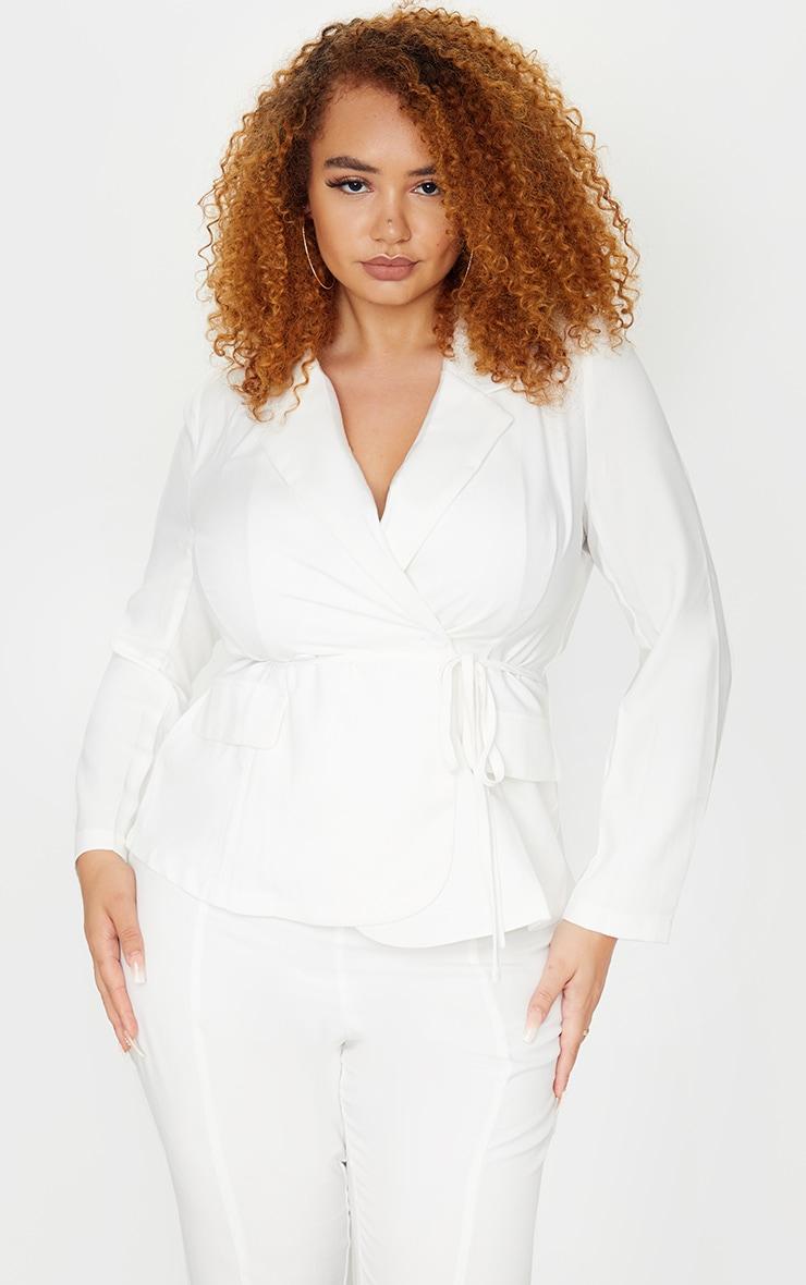 Plus White Woven Button Blazer 1