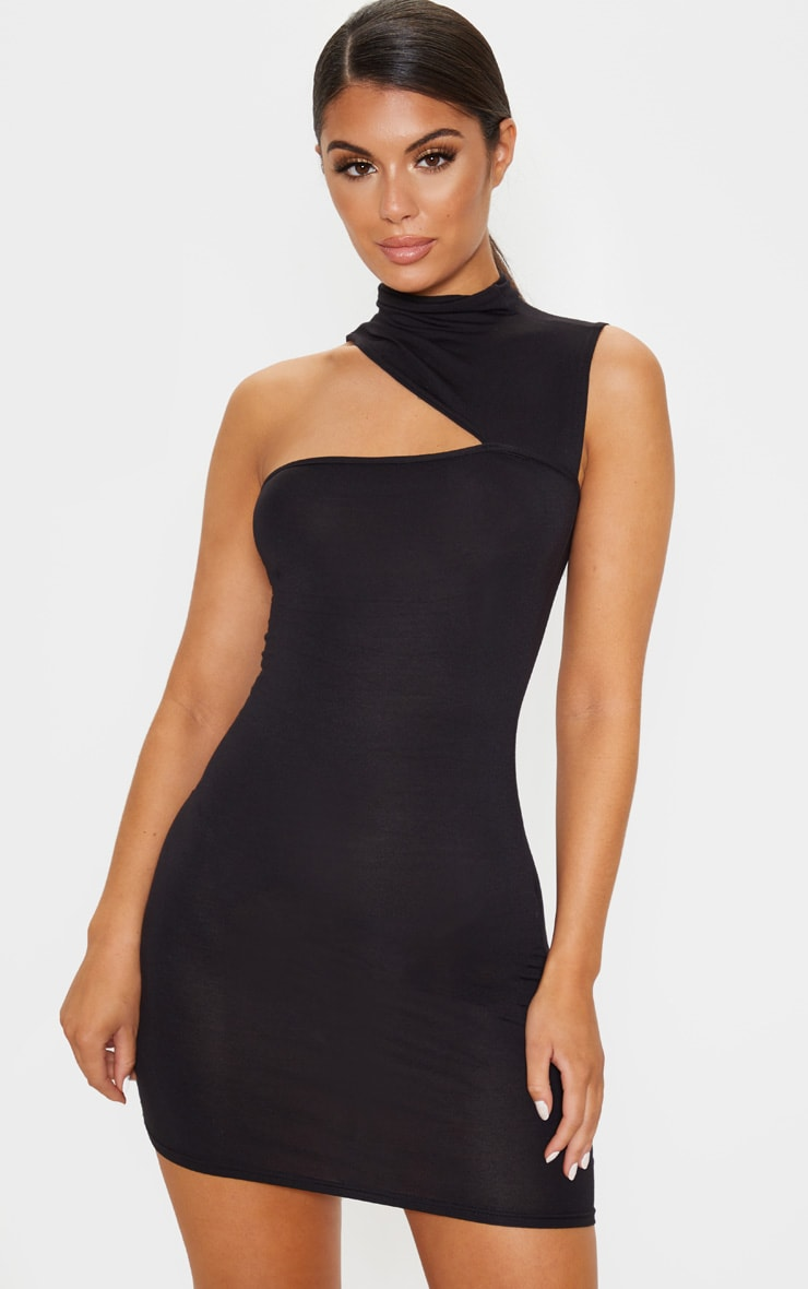 Black High Neck Cut Out Sleeveless Bodycon Dress 1