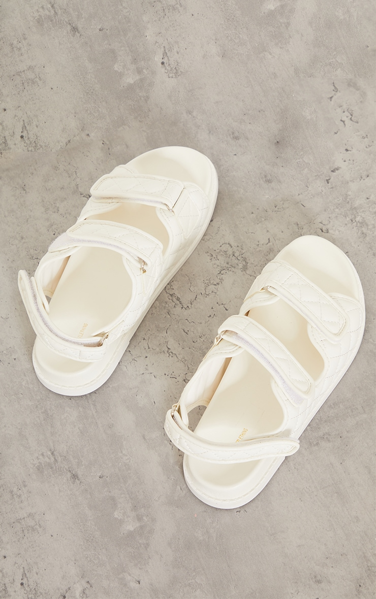 White PU Quilted Velcro Strap Footbed Sandals 4