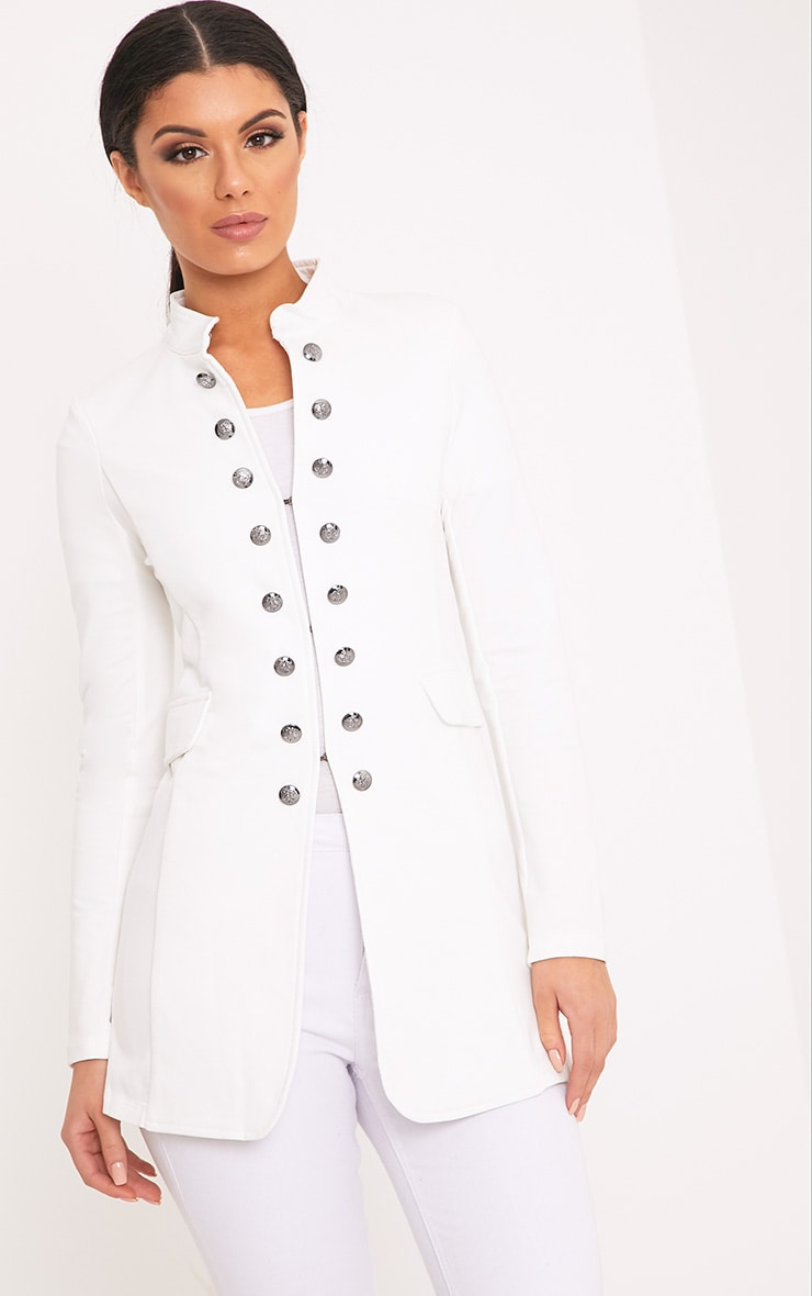 Solenn White Double Button Miltary Coat 1