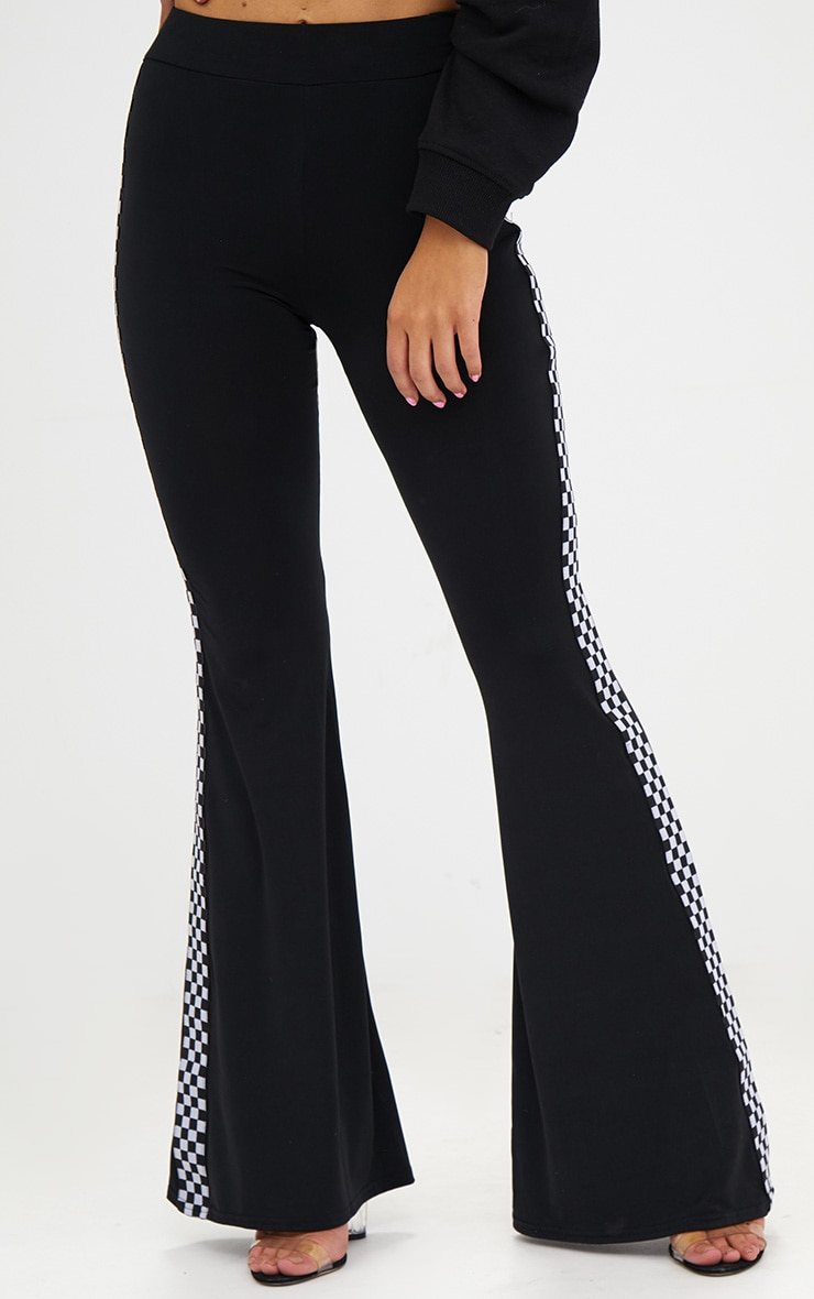 Petite Black Slinky Checkerboard Trim Flared Trousers 2
