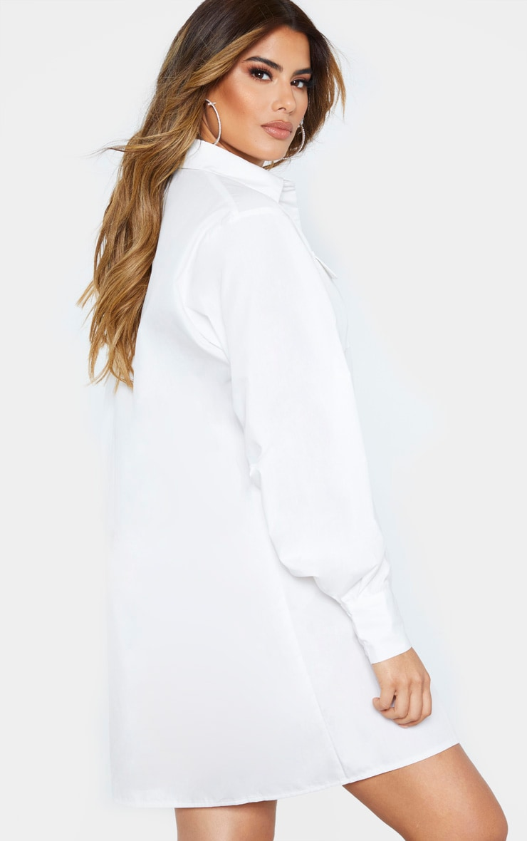 Tall White Oversized Utility Shirt Dress 2