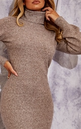 Recycled Mocha Knitted Roll Neck Midaxi Dress 4