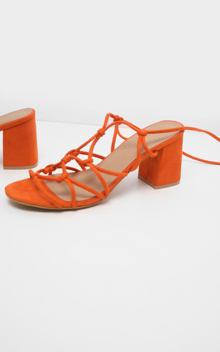Orange Block Heel Leg Tie Sandal 3