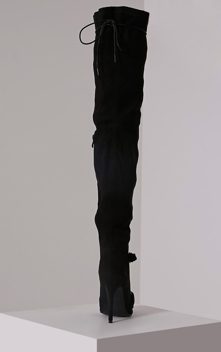 Sofey Black Faux Suede Lace Up Pointed Over The Knee Boots 5