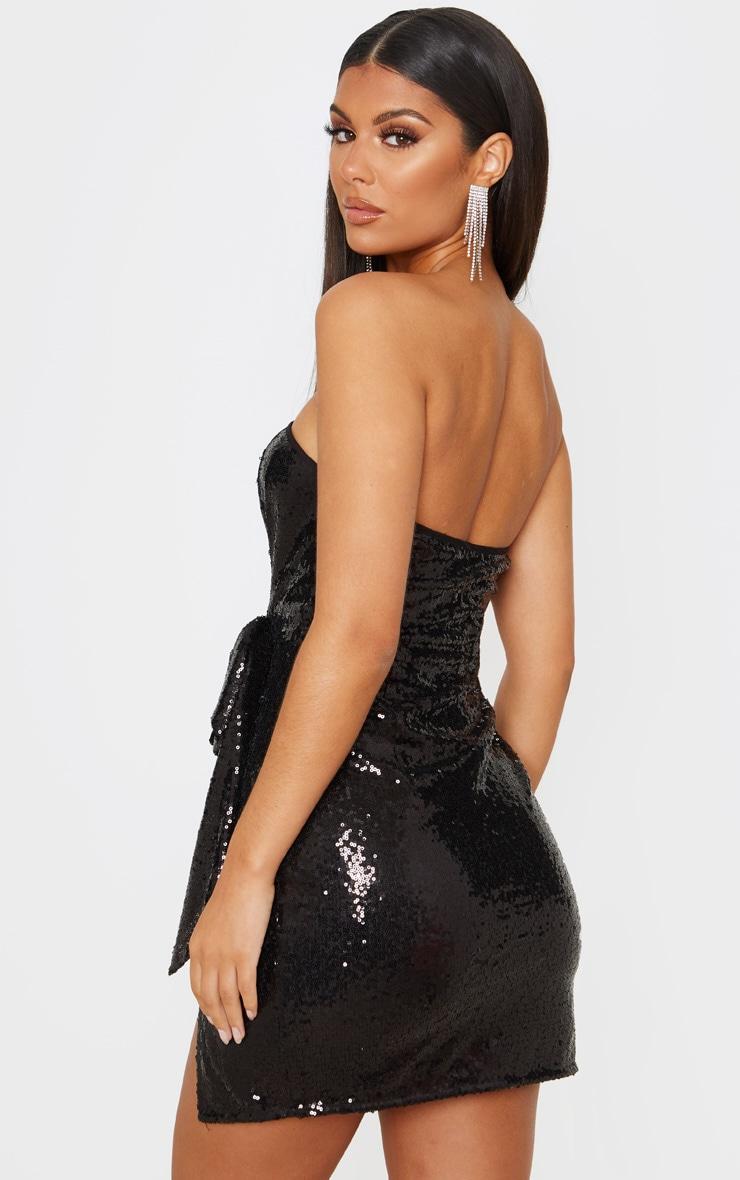 Black Sequin Bow Detail Bandeau Bodycon Dress 2