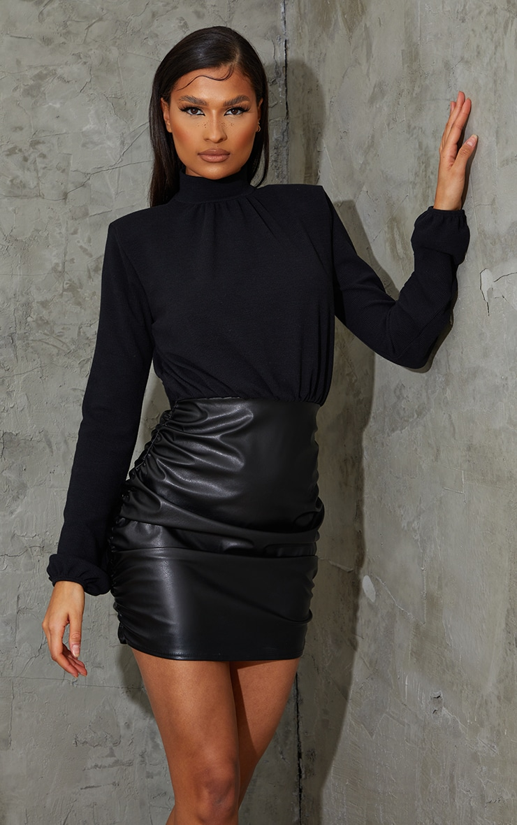 Black PU Ribbed Bodice Ruched Bodycon Dress 1
