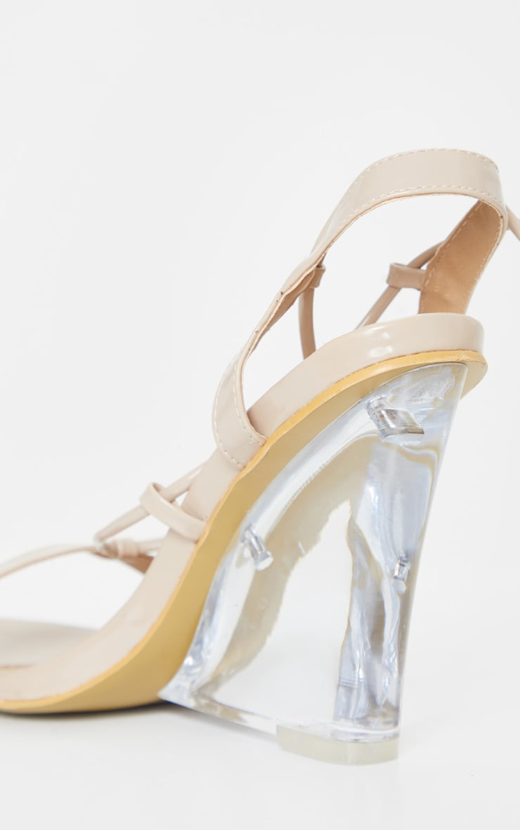 Nude Lace Up Clear Wedges 3