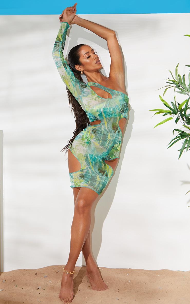 Green Cut Out One Shoulder Midi Dress 1