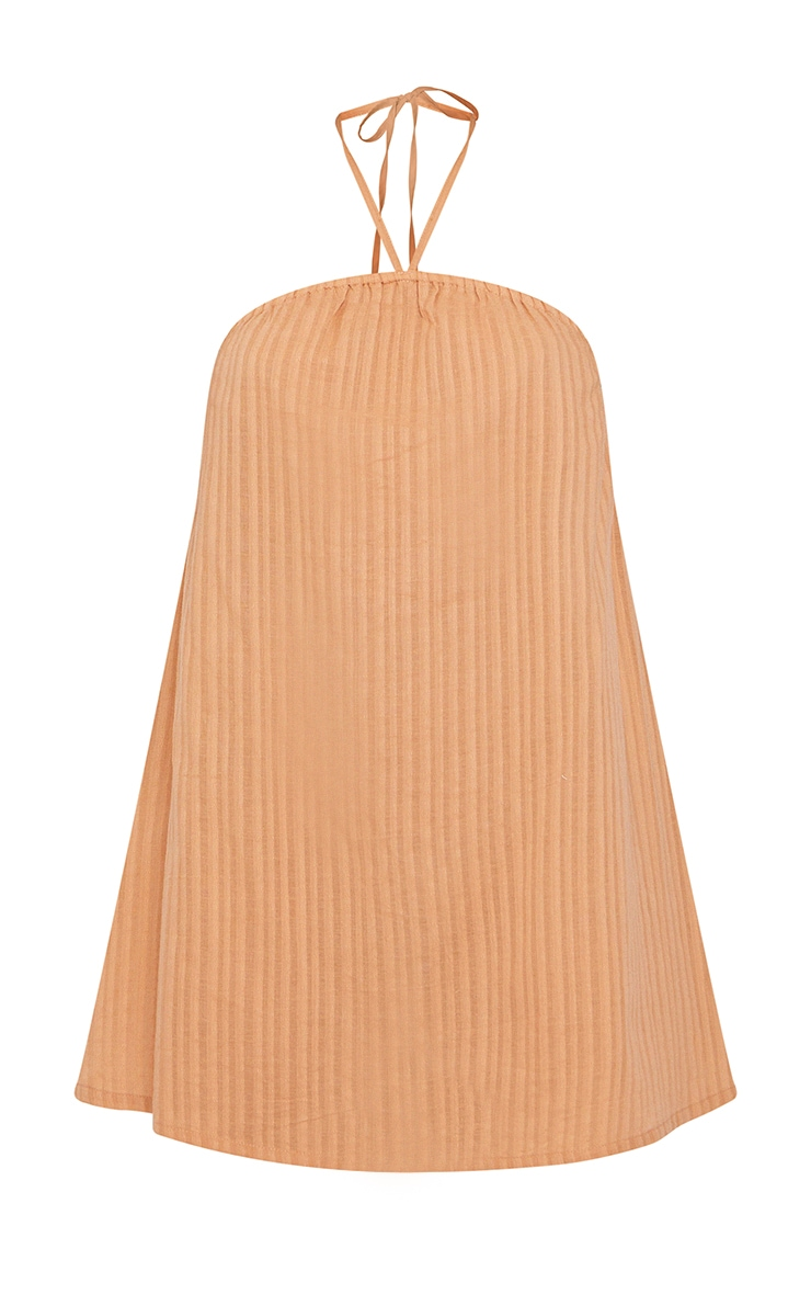 Clay Stripe Linen Look Halterneck Smock Dress 5