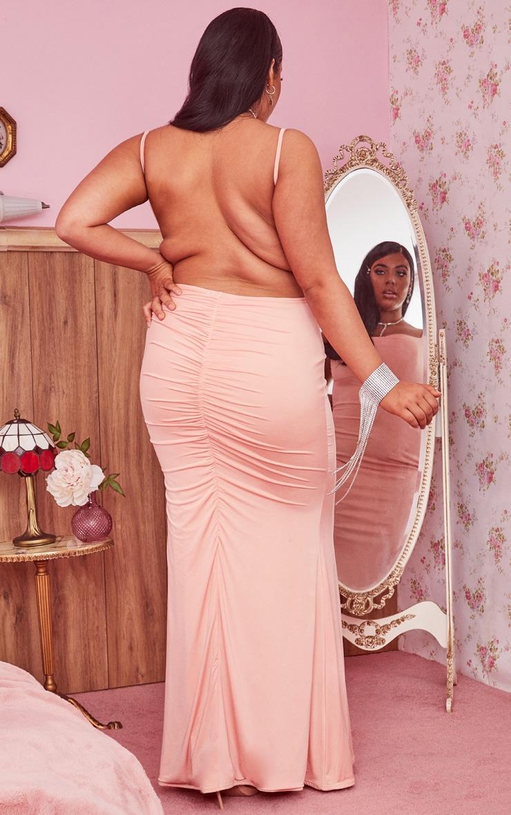 Plus Peach Slinky Ruched Bum Cowl Neck Maxi Dress 3