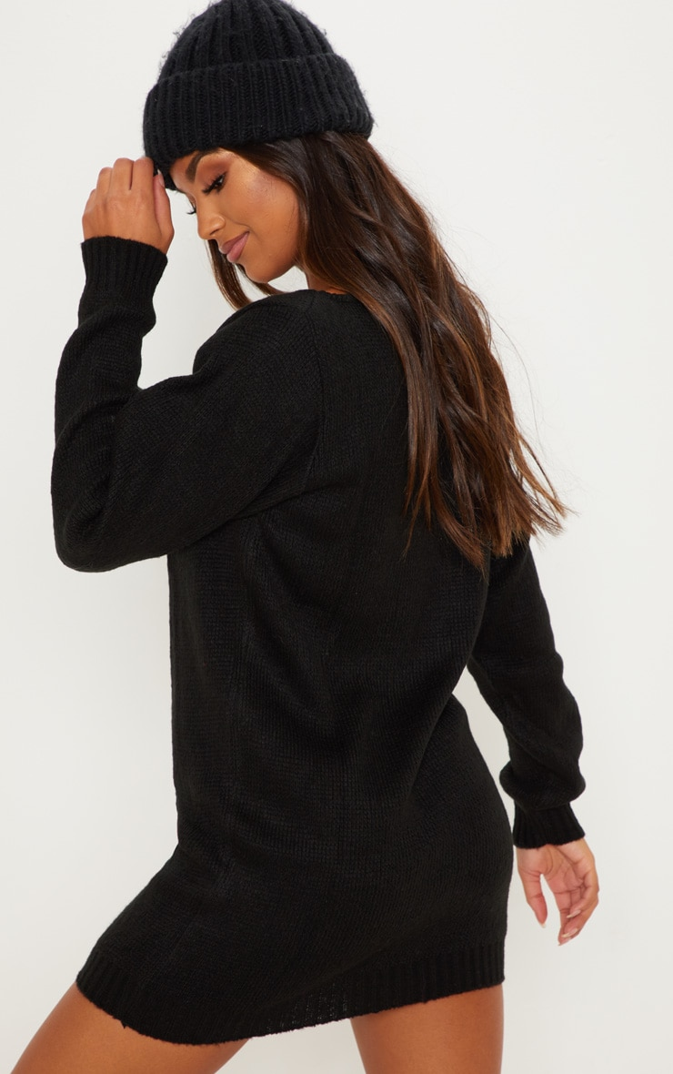 Black Soft Knitted Off Shoulder Mini Dress 2