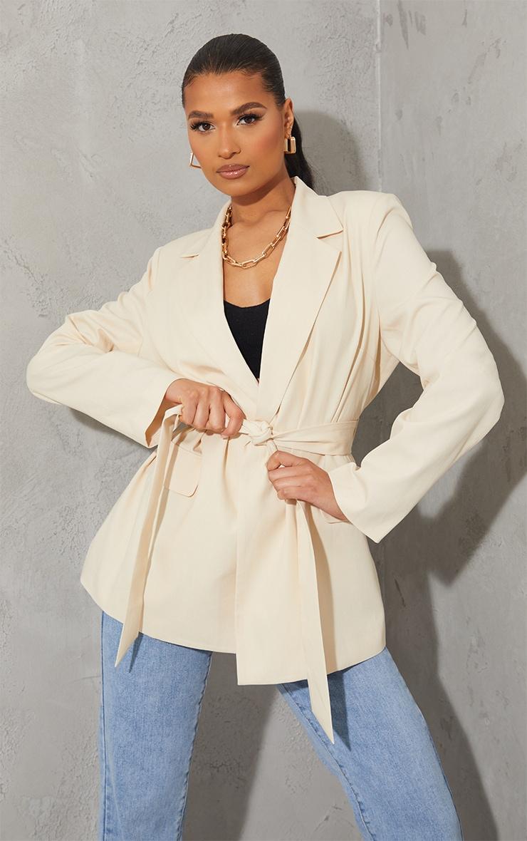 Cream Woven Oversized Pocket Front Belted Blazer 1