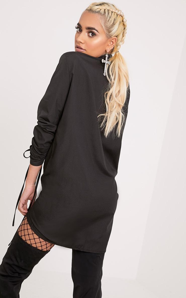 Mandie Black Ruched Sleeve Shirt Dress 2