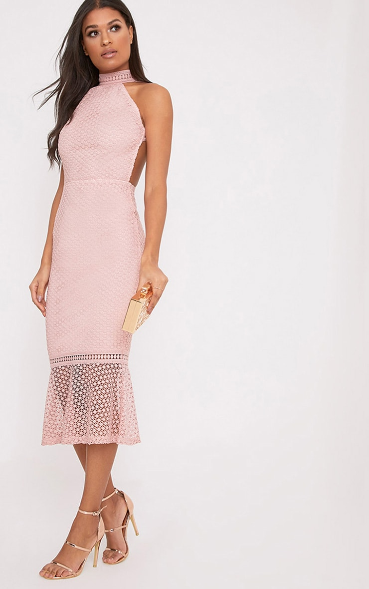 Kymmie Dusty Pink Lace High Neck Midi Dress 1