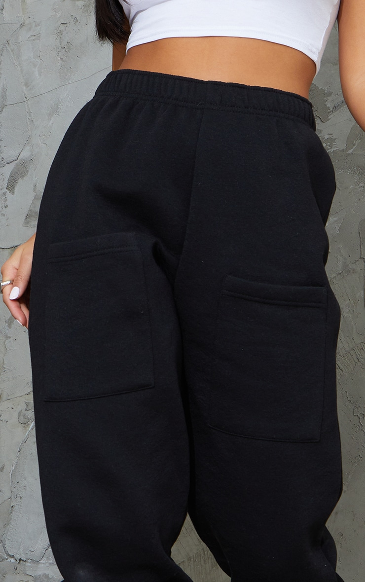 Petite Black Pocket Thigh Casual Joggers 4