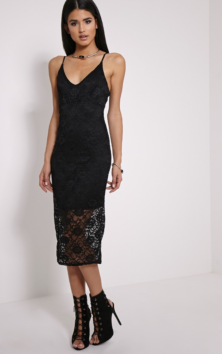 Adira Black Lace Midi Dress 1