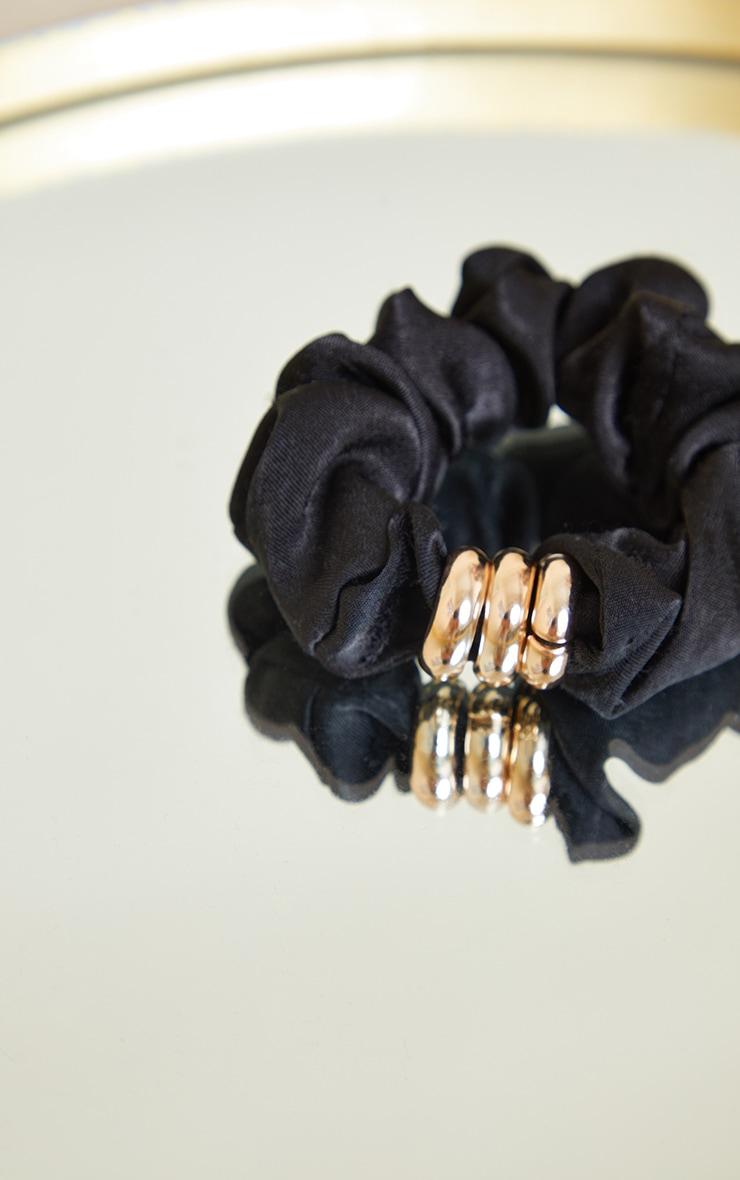 Black Satin Gold Detail Scrunchie 3