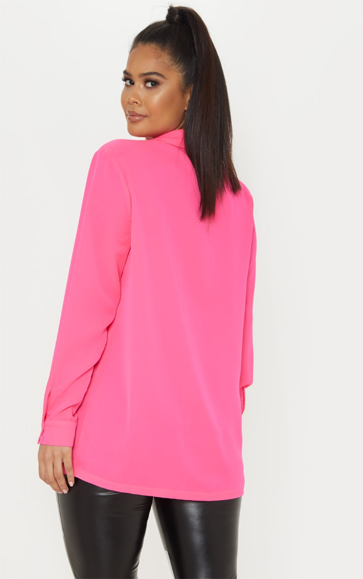 Hot Pink Oversized Chiffon Shirt 2
