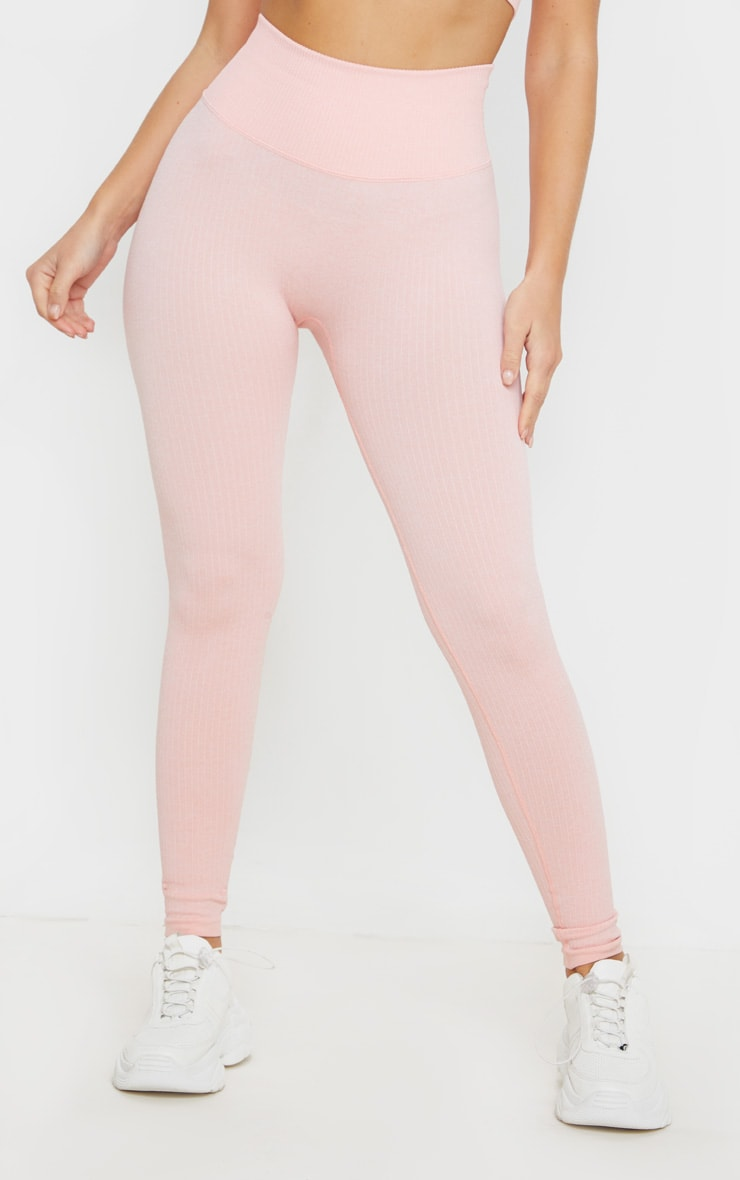 Peach Ribbed Sports Legging 2