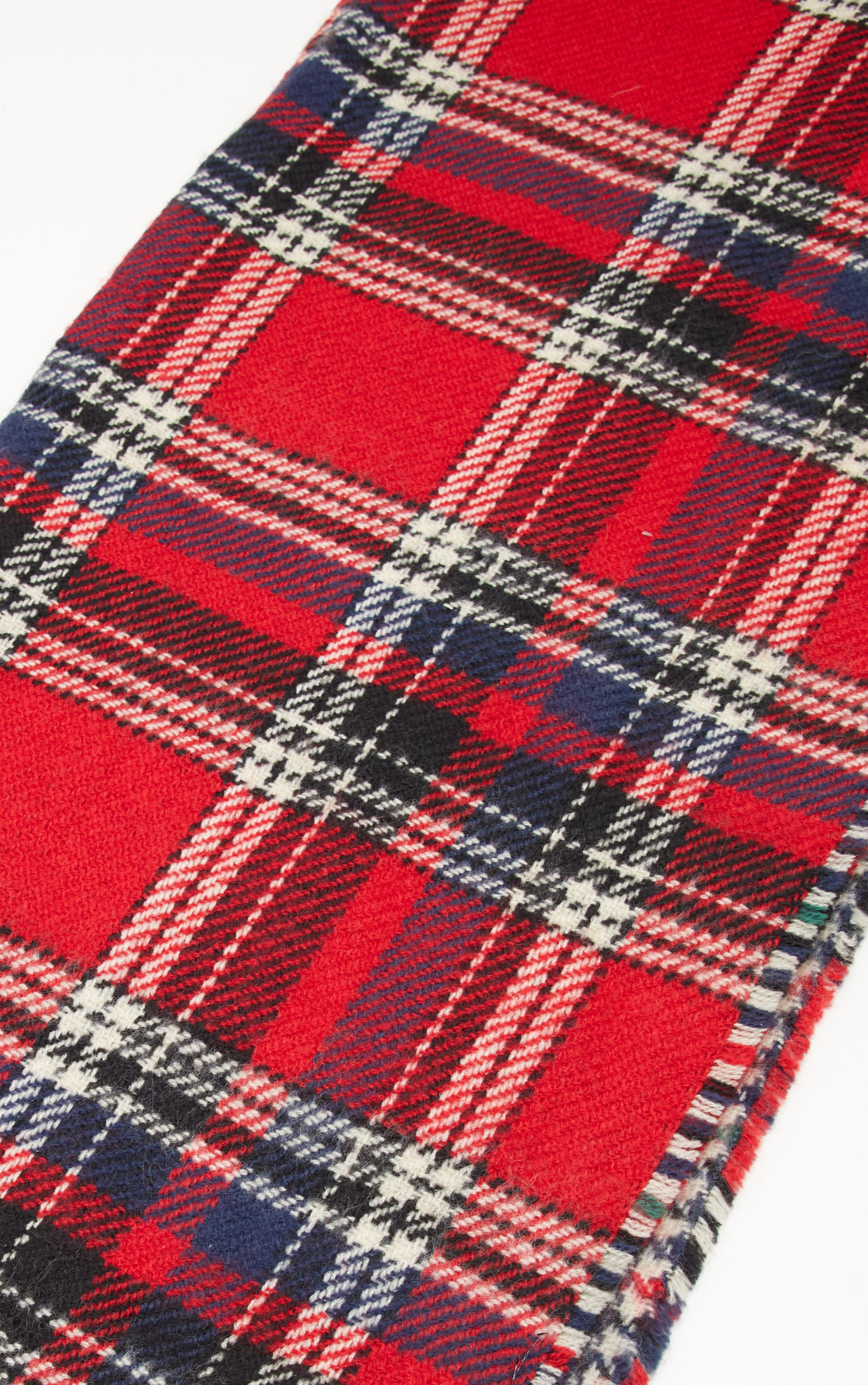Red Tartan Check Reversible Knitted Scarf 5