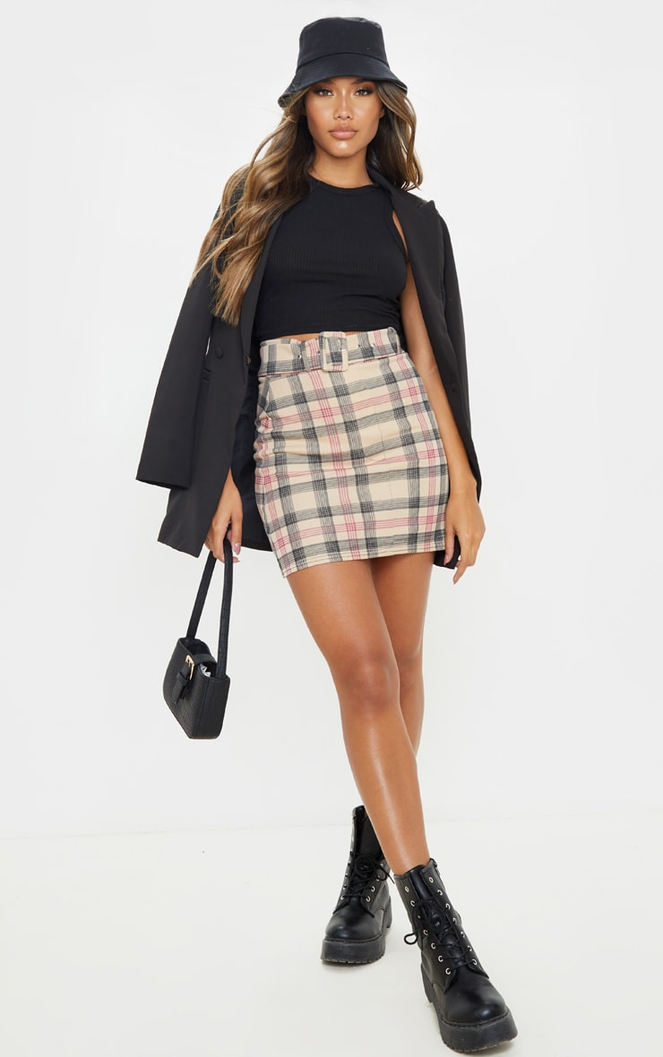Stone Check Belted Mini Skirt 1