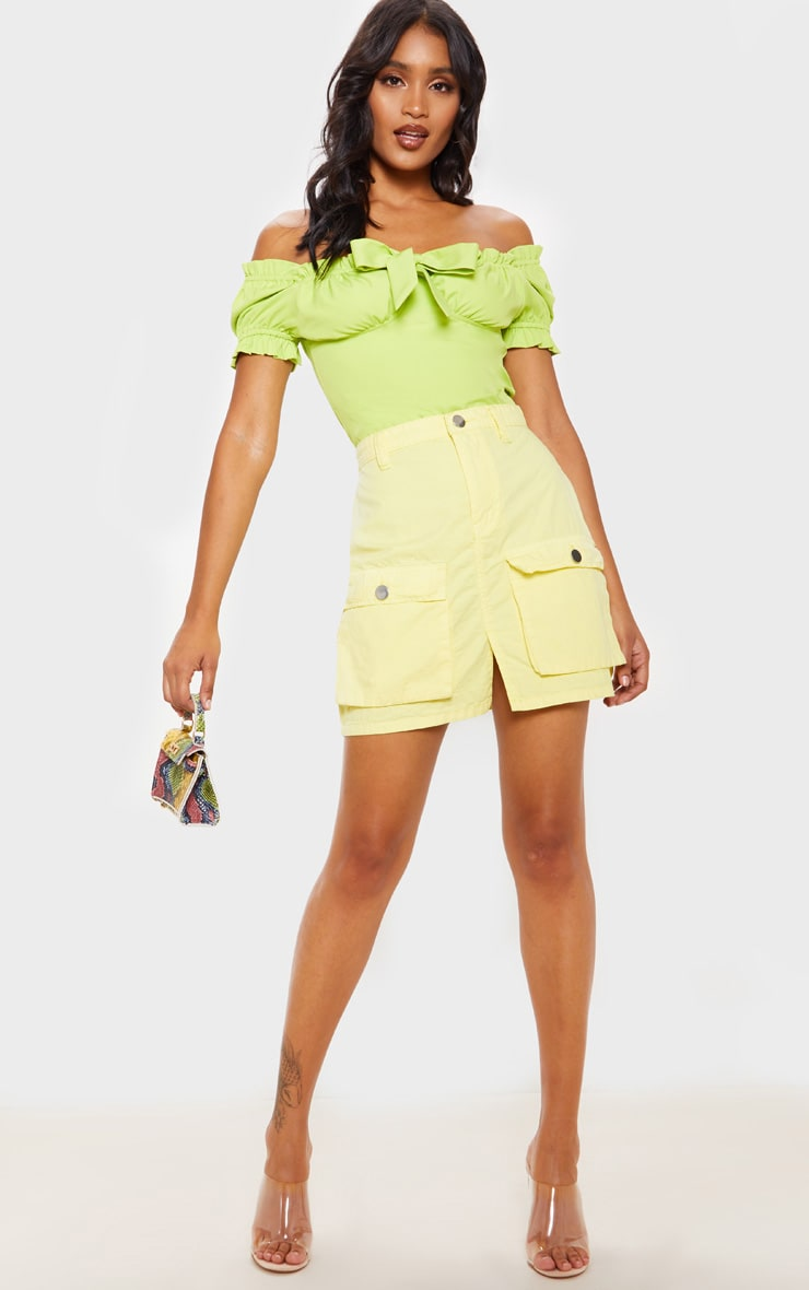 Yellow Neon Pocket Detail Denim Skirt  1