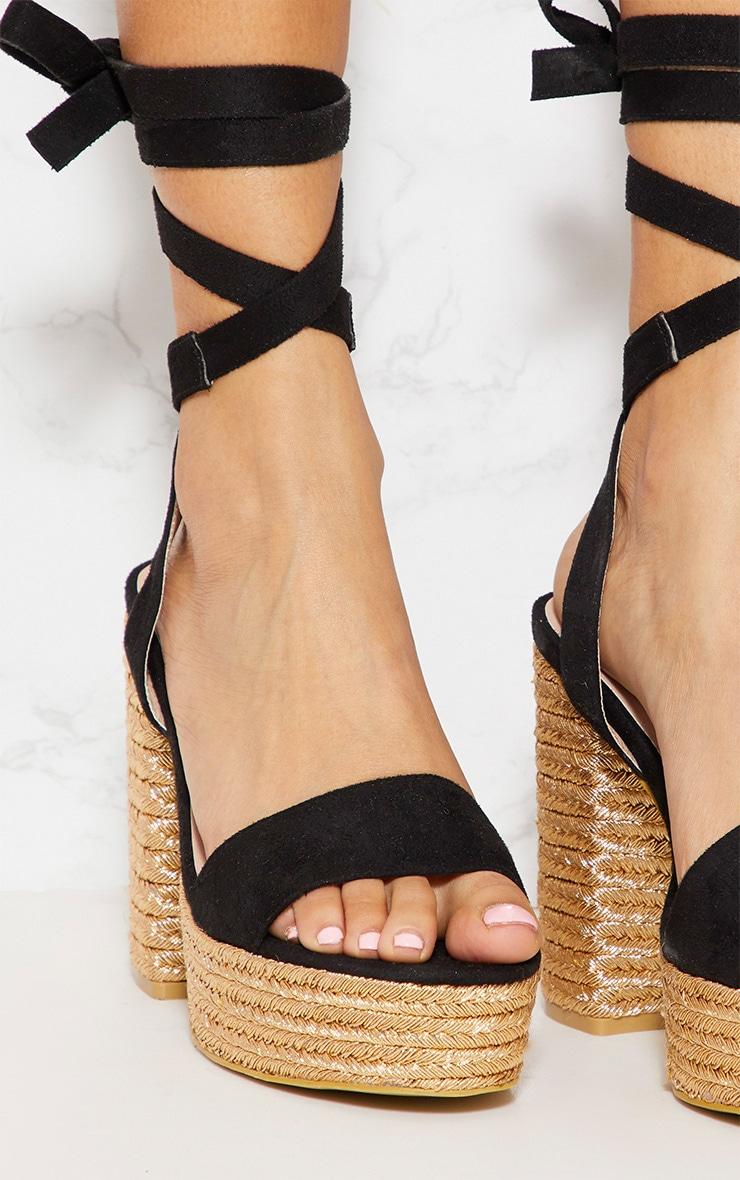 Sandales style espadrilles noires à plateforme et lacet 4