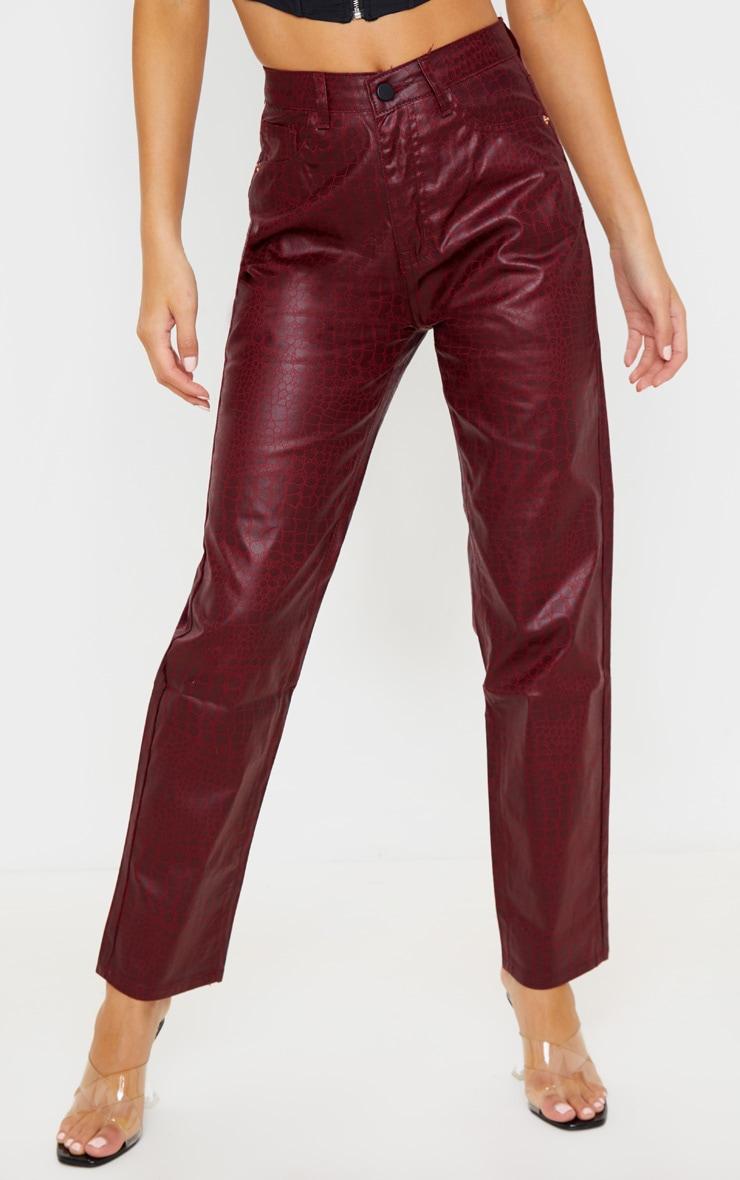 Dark Red Coated Denim Croc Straight Leg Jean 2
