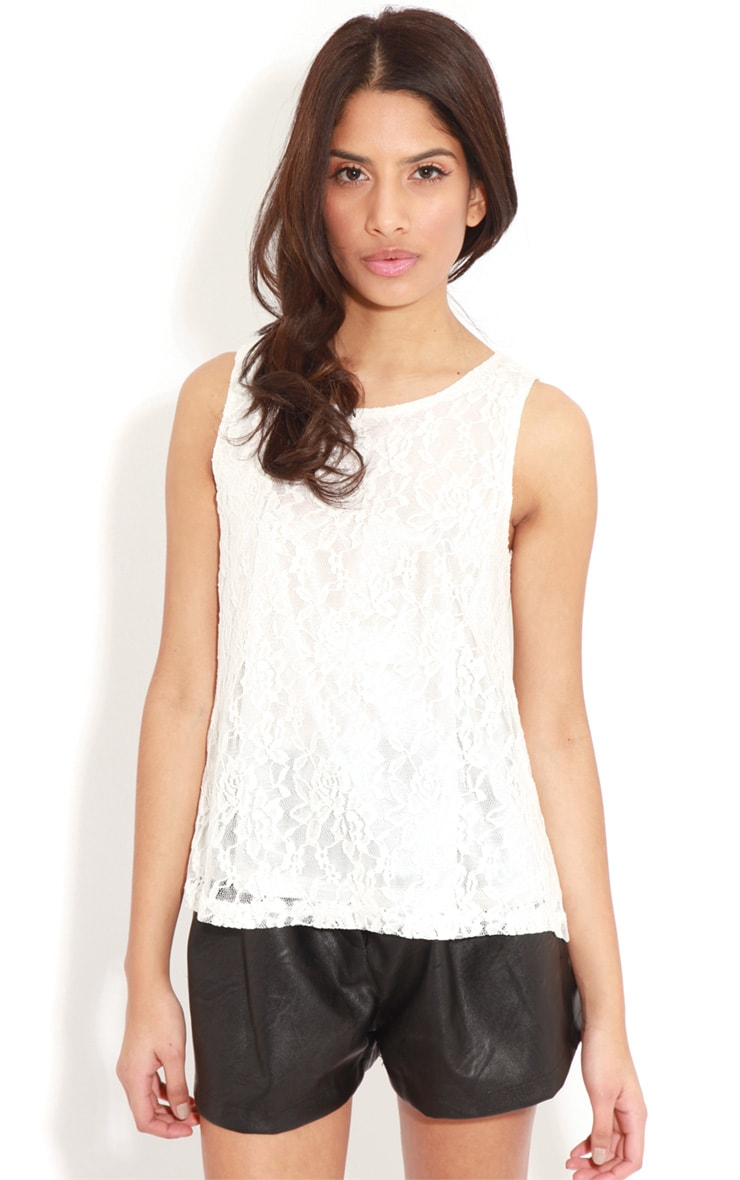 Leilani White Open Back Lace Top 1