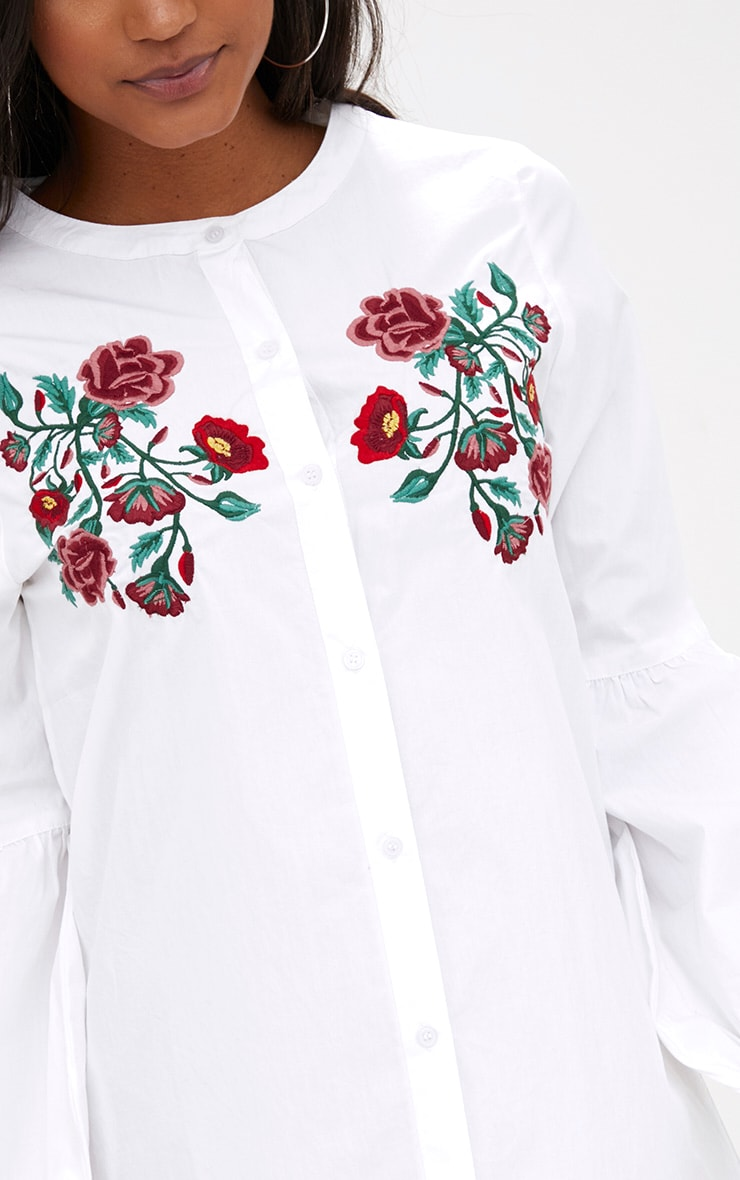 White Embroidered Long Sleeve Shirt Dress  5