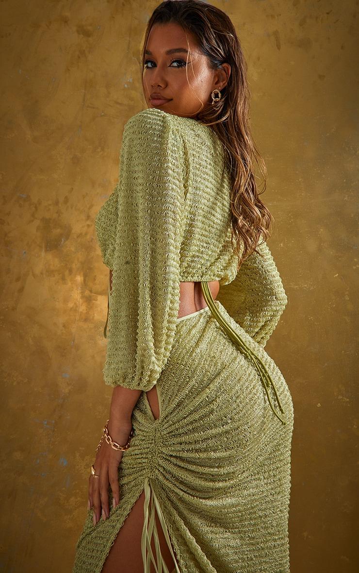 Green Textured Tie Front Long Sleeve Beach Top 2