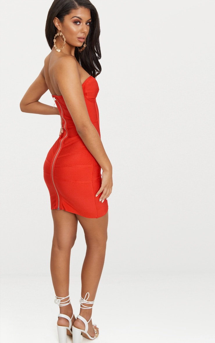Cloe Red Bandage Panel Bodycon Dress 2