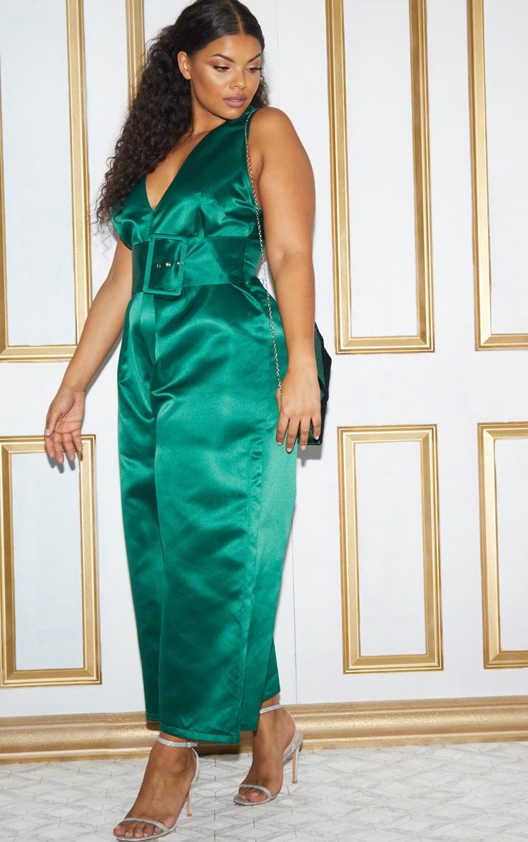 Plus Green Satin Belt Culotte Jumpsuit 6