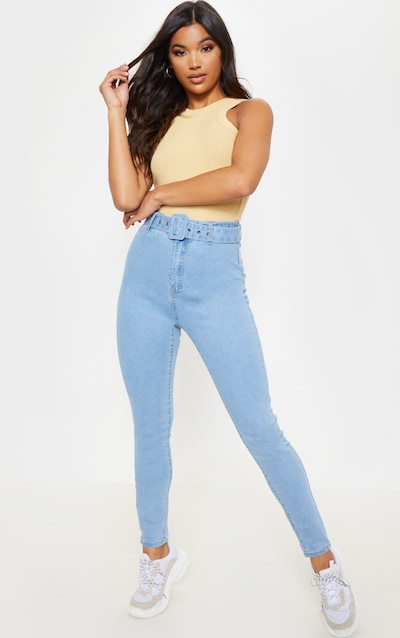 b6464f783b Light Blue Wash Belted Skinny Jean