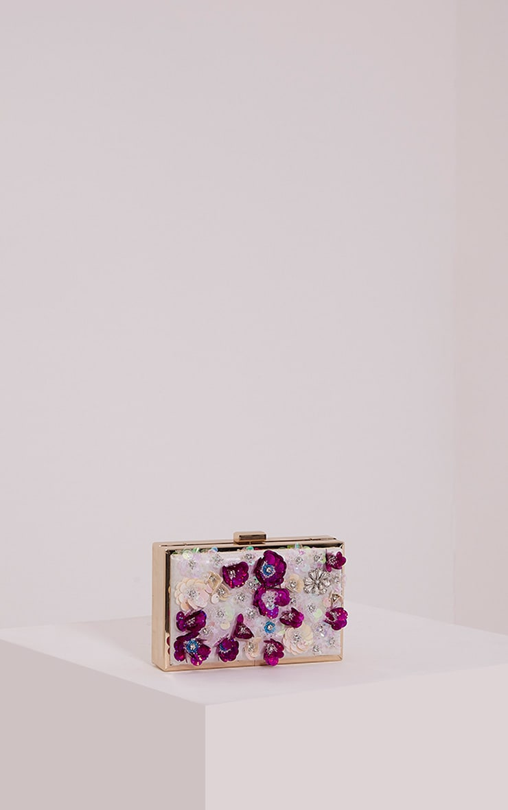 Amay Multi Sequin Flower Box Clutch 1