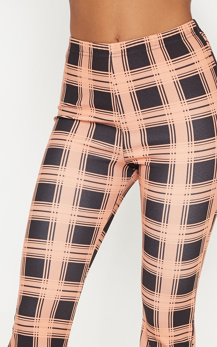 Orange Checked Wide Leg Trouser  5