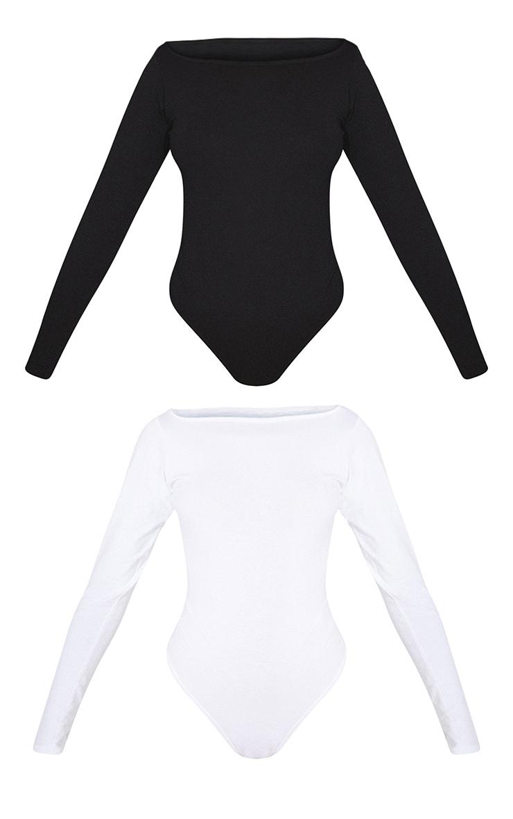 Basic Black & White Cotton Blend Bardot Bodysuit 2 Pack 5