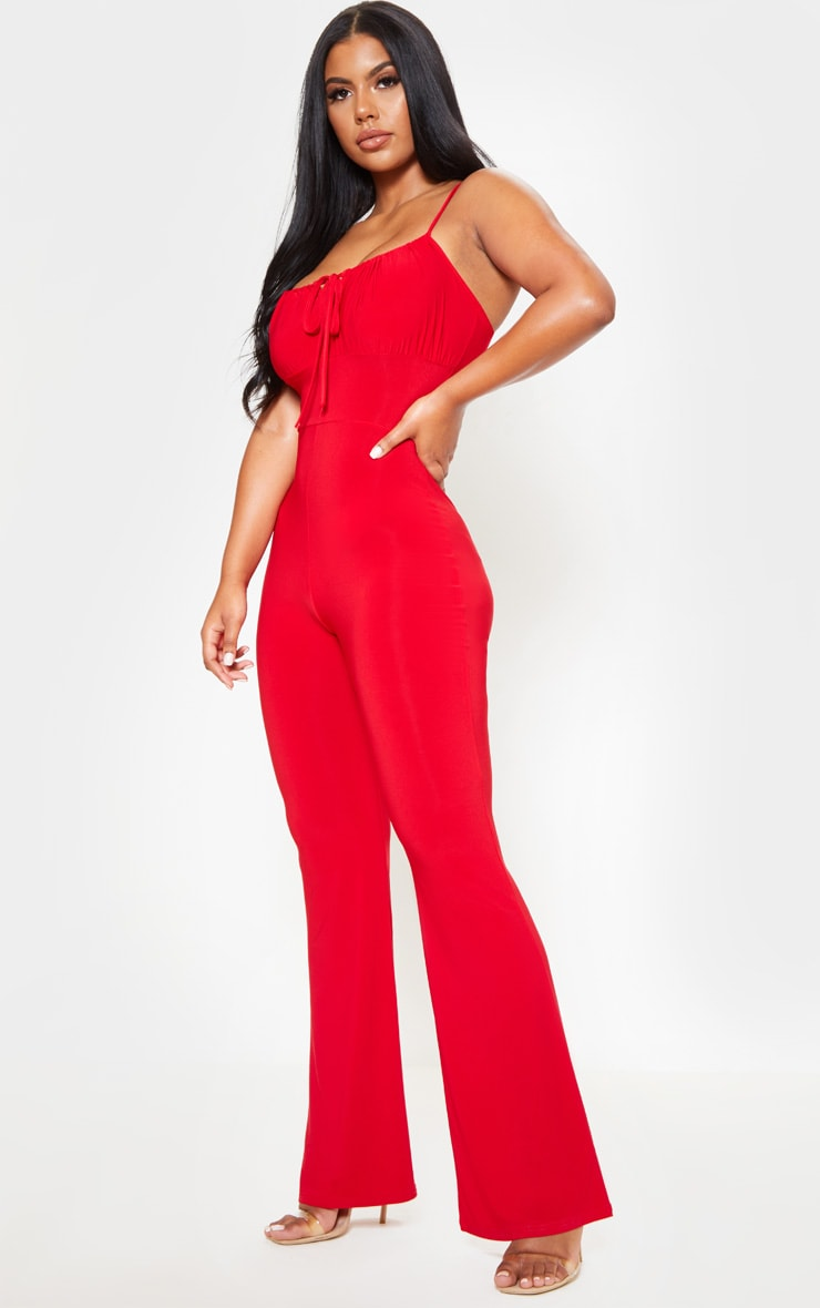 Red Strappy Ruched Detail Wide Leg Jumpsuit 4