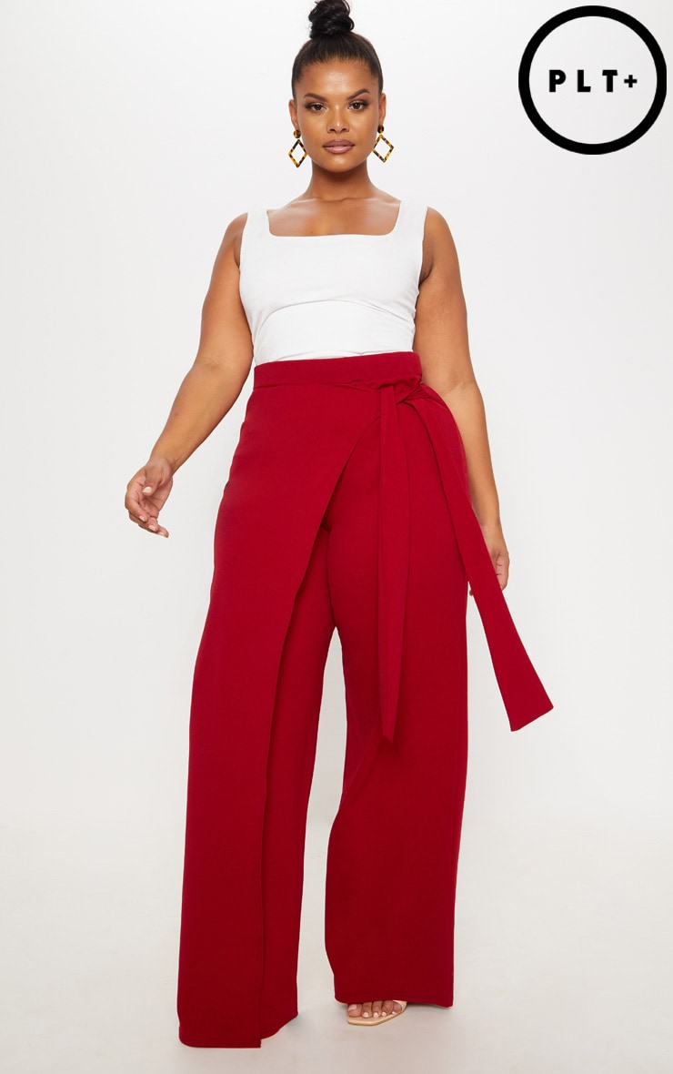 Plus Burgundy Wrap Detail Extreme Wide Leg Trousers by Prettylittlething