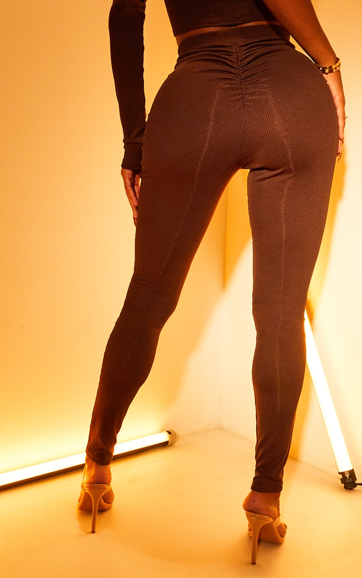 Shape Chocolate Rib Ruched Bum Leggings 3