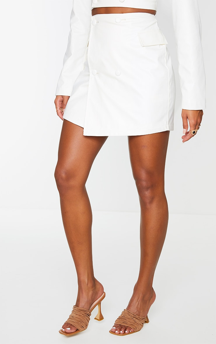 Cream Pu Pocket Detail Button Up Mini Skirt 2
