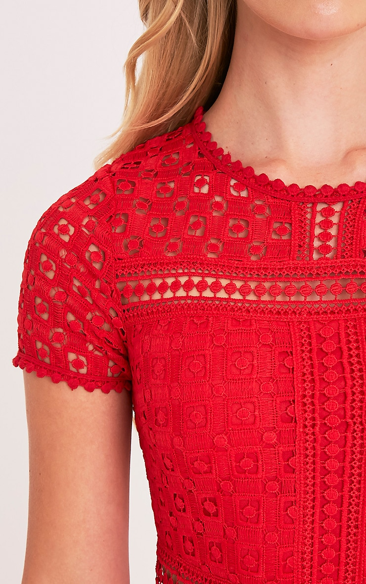 Midira Red Crochet Lace Midi Dress 6