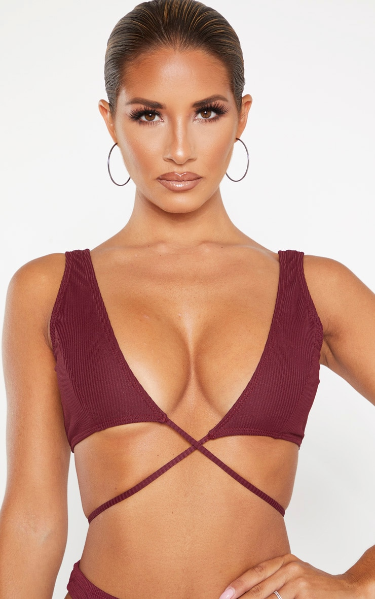 Burgundy Ribbed Tie Front Plunge Bikini Top 6