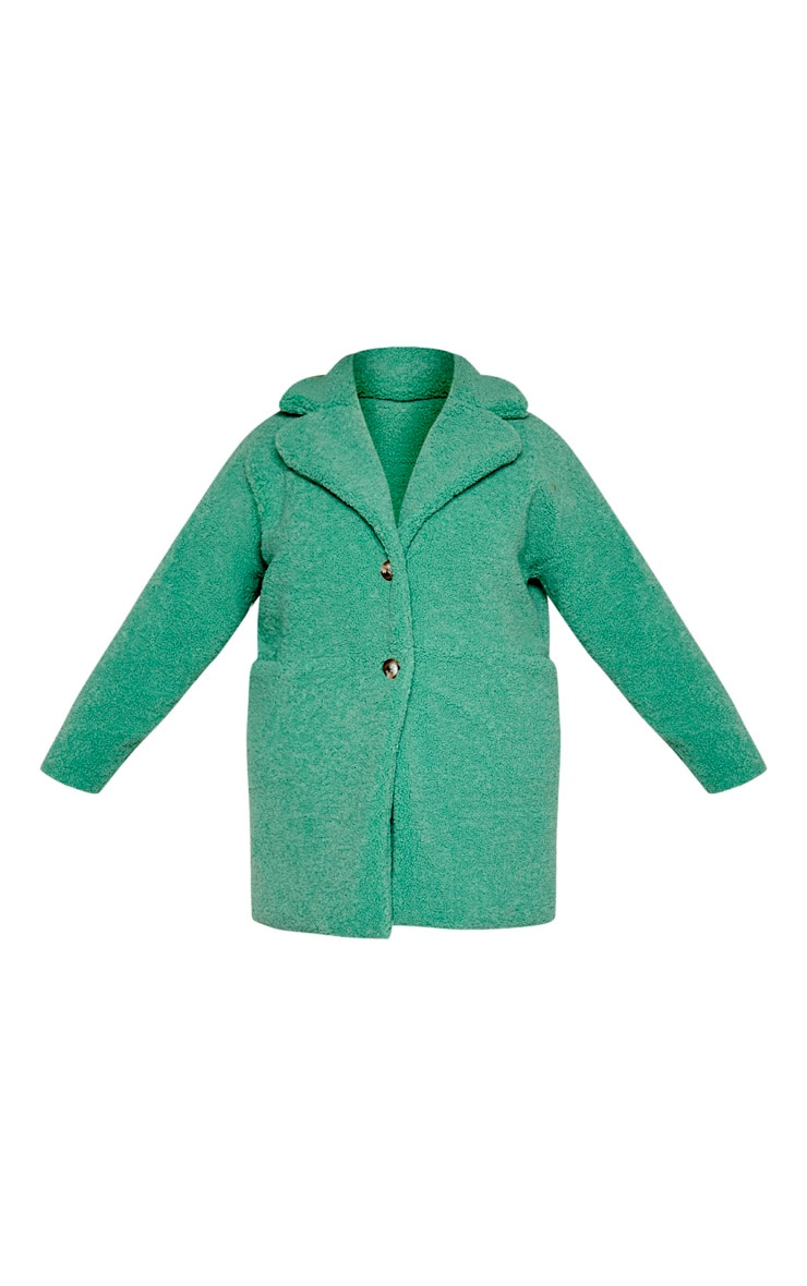 Plus Sage Green Midi Teddy Borg Coat 3