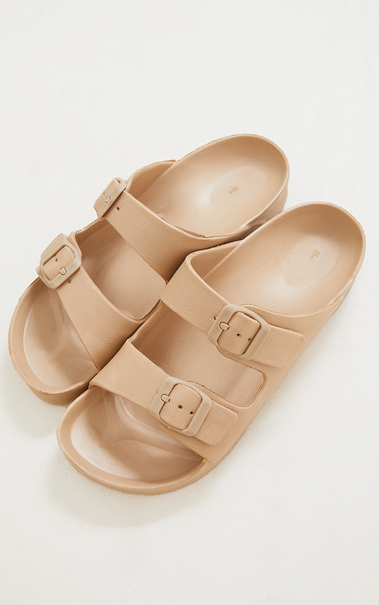 Nude Rubber Double Buckle Sandals 4