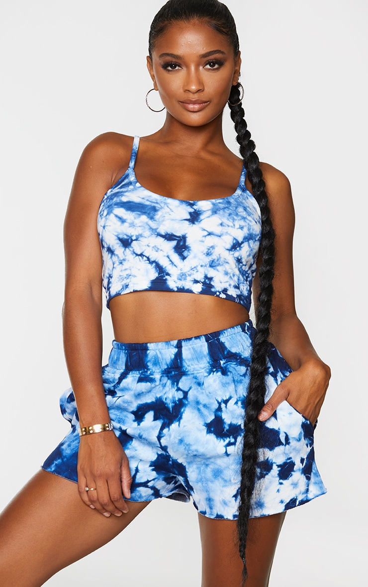 Shape Blue Tie Dye Cotton Strappy Crop Top 1