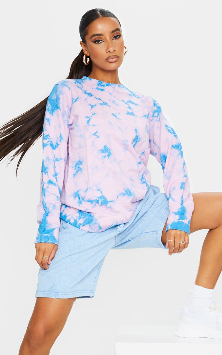 Fuchsia Tie Dye Oversized Sweatshirt 1